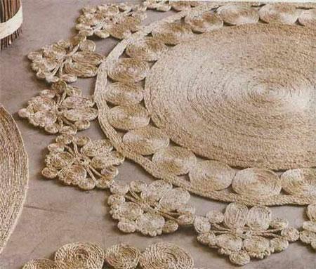 درست کردن فرش با نخ های کنفی
